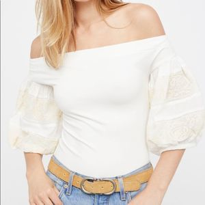 Free People Rock With It Puff Sleeve Shirt sz XS